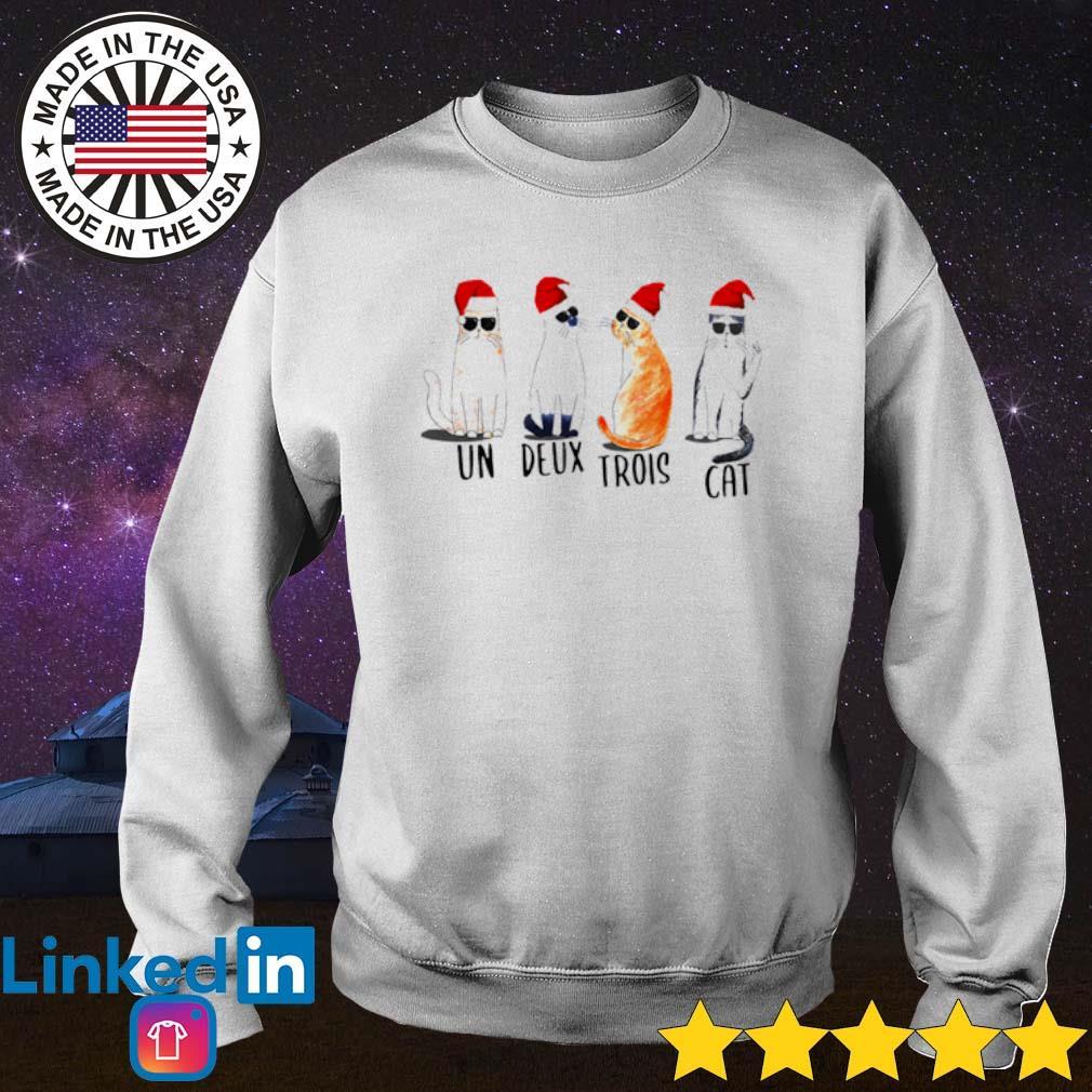 Un Deux Trois cat Santa Christmas sweater