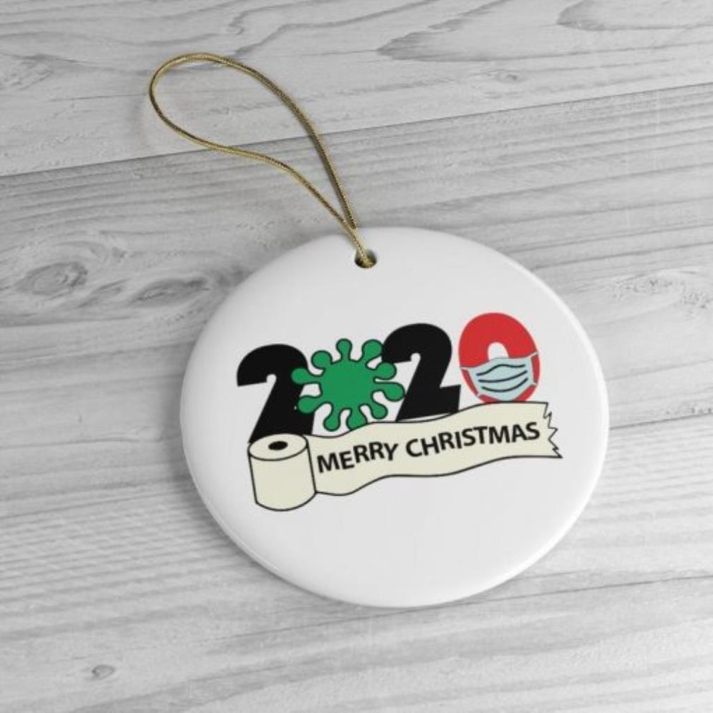 2020 Merry Christmas COVID-19 face mask circle ornament