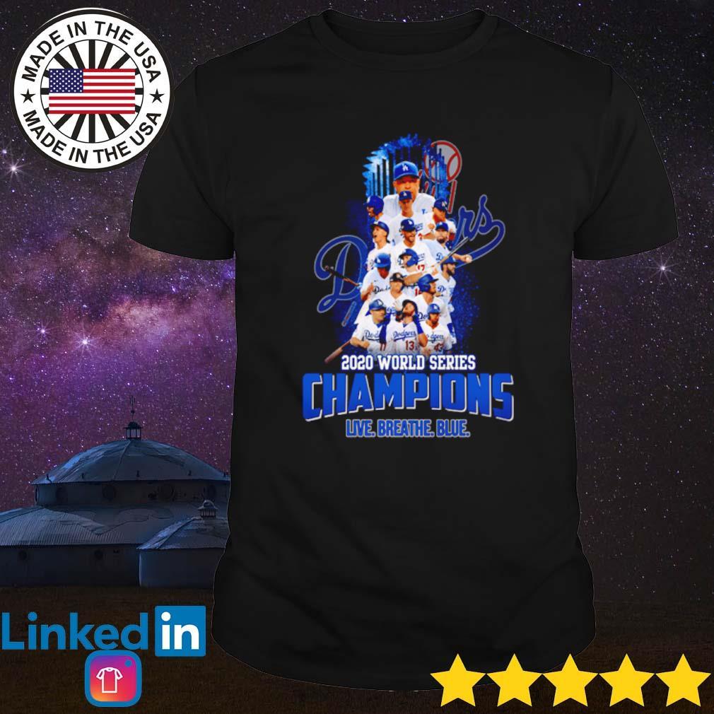 2020 World series champions Los Angeles Dodgers live breath blue shirt