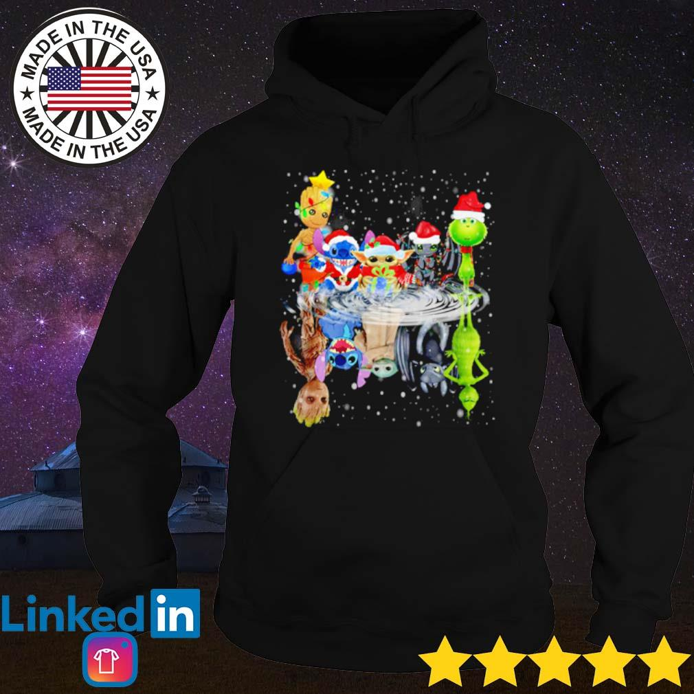 Baby Groot Stitch Yoda Toothless and Grinch Chibi water mirror reflection Christmas sweater Hoodie