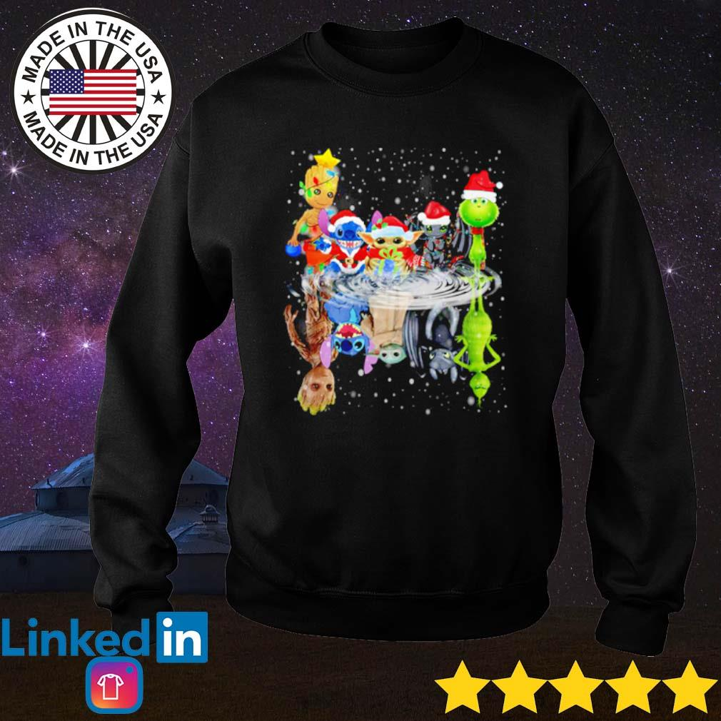 Baby Groot Stitch Yoda Toothless and Grinch Chibi water mirror reflection Christmas sweater