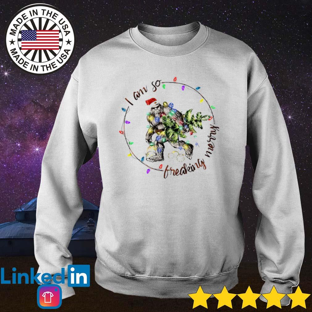 Bigfoot I am so freaking merry Christmas light sweater