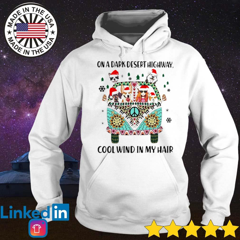 Dogs and girl hippie on a dark desert highway cool wind in my hair Christmas sweater Hoodie