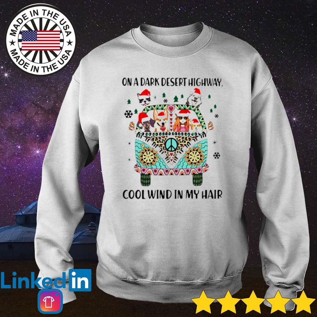 Dogs and girl hippie on a dark desert highway cool wind in my hair Christmas sweater