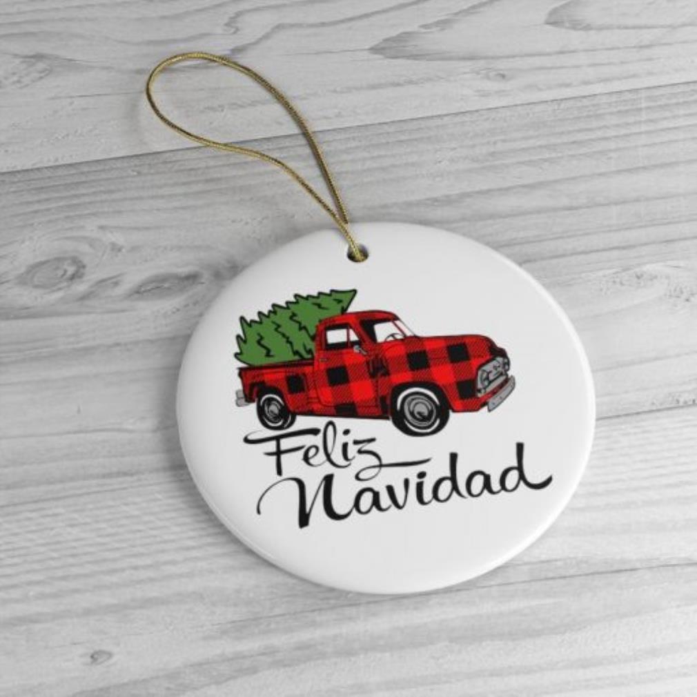 Feliz Navidad plaid red truck Christmas ornament