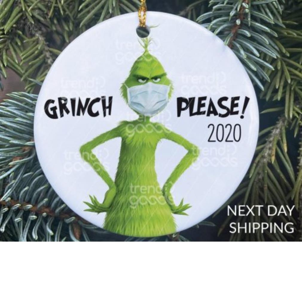 Grinch face mask 2020 ornament