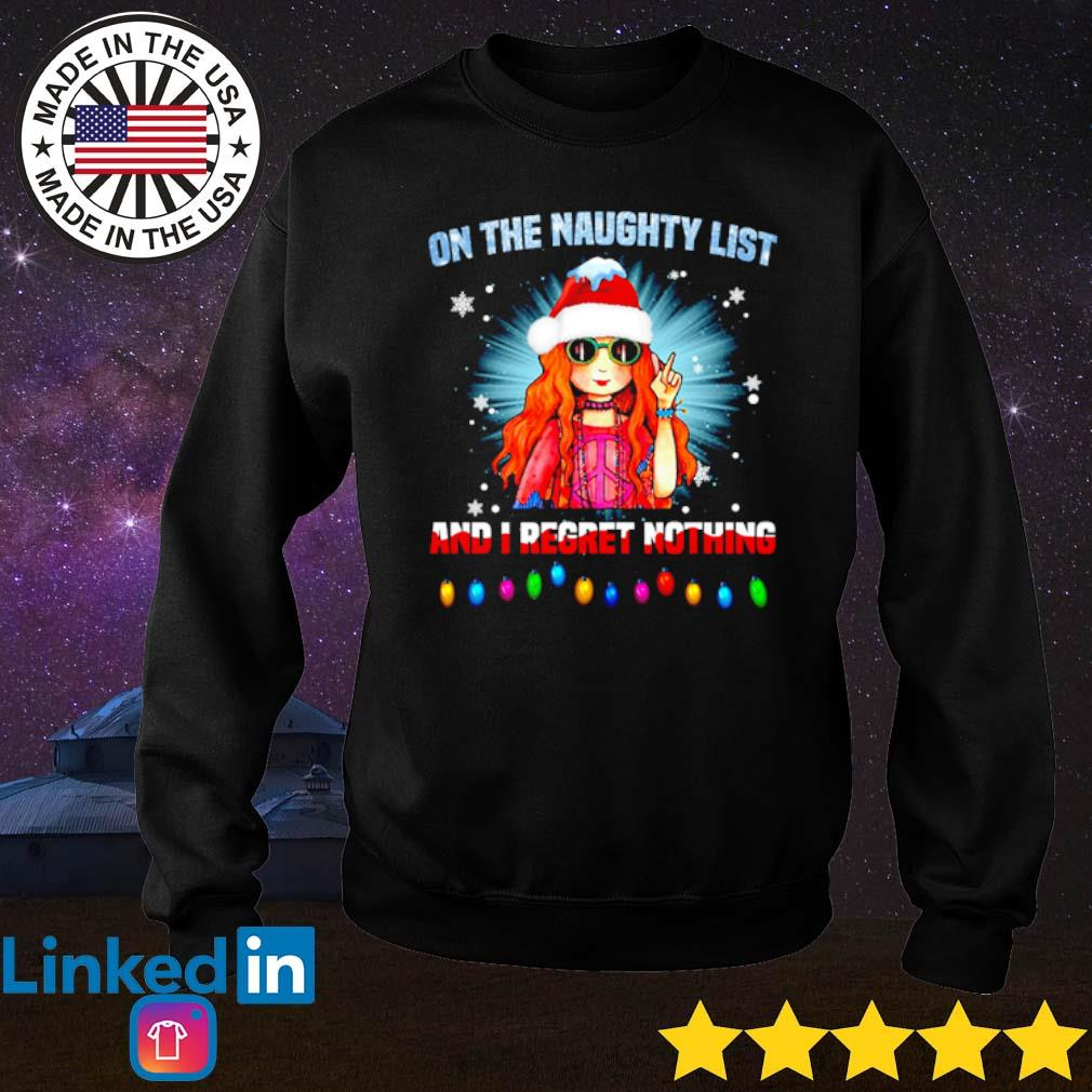 Hippie girl Santa on the naughty list and I regret nothing Christmas sweater