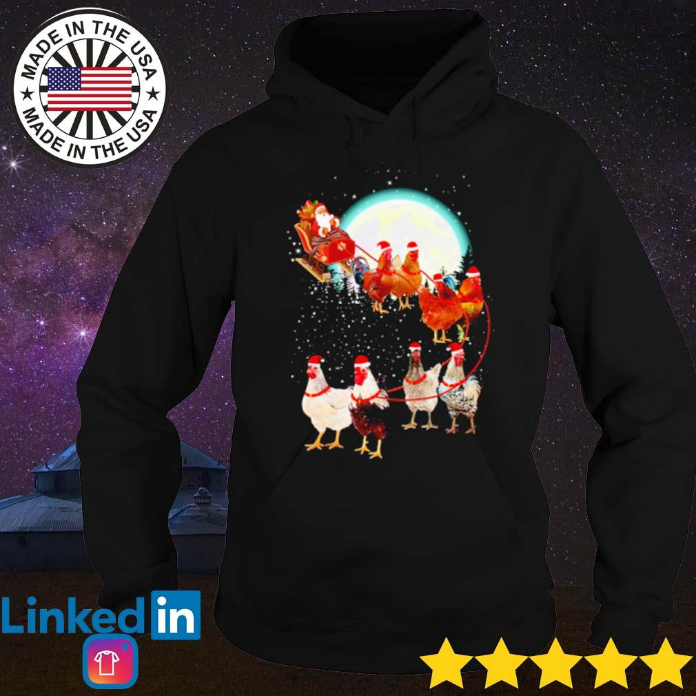 Santa Claus drive sleigh chickens on the moon Christmas sweater Hoodie