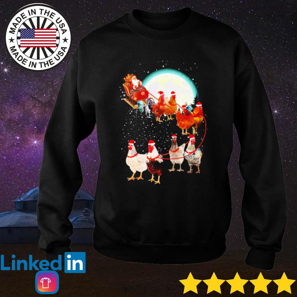 Santa Claus drive sleigh chickens on the moon Christmas sweater