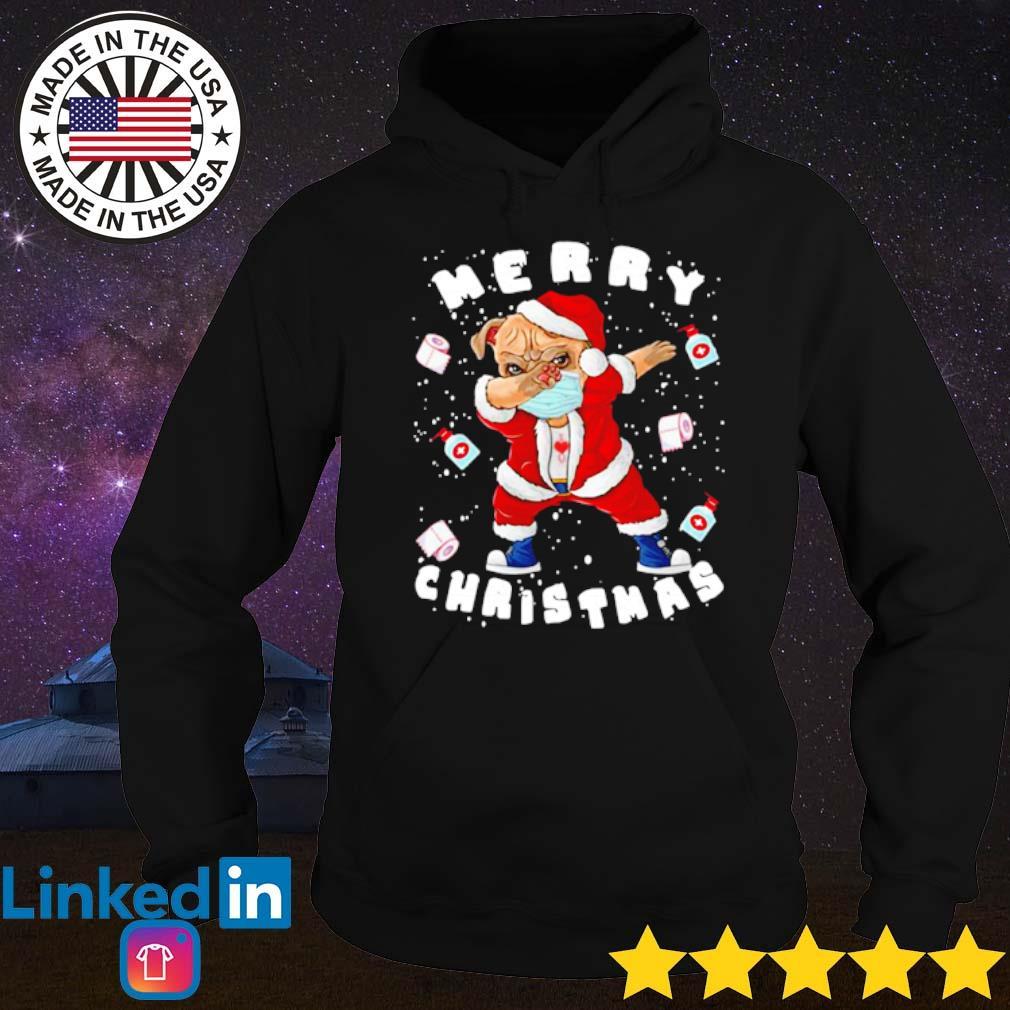 Santa pug dabbing face mask merry Christmas 2020 quarantine sweater Hoodie