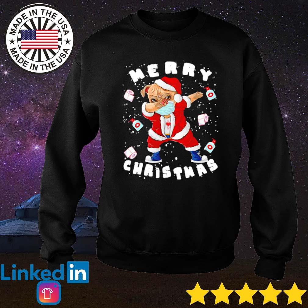 Santa pug dabbing face mask merry Christmas 2020 quarantine sweater