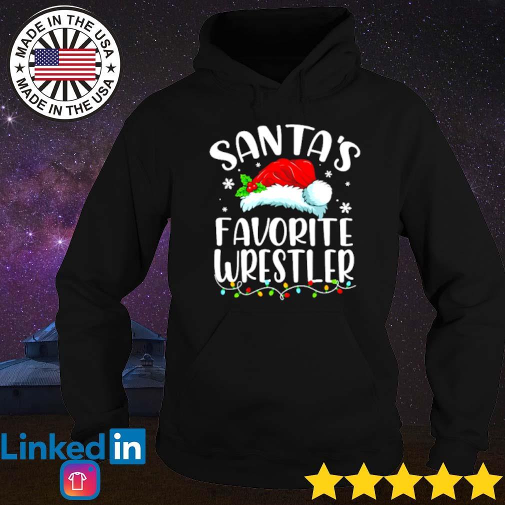 Santa's favorite Wrestler lights Christmas sweater Hoodie