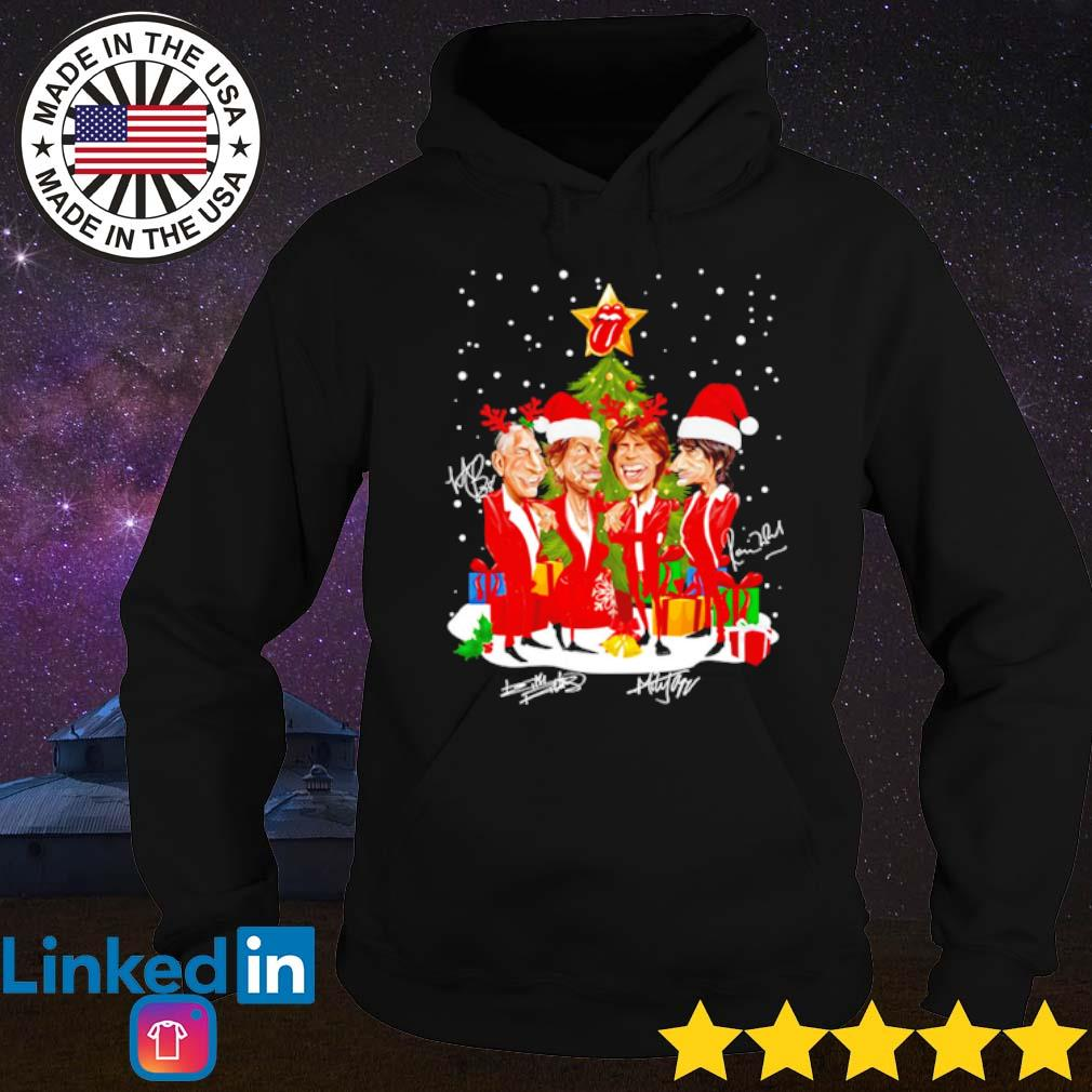 Sing this all together The Rolling Stones Santa hat reindeer Christmas snow gift sweater Hoodie
