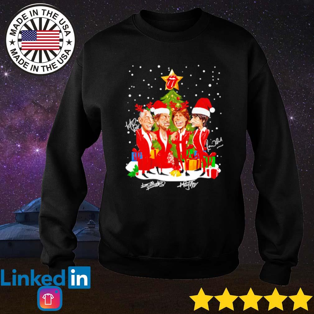 Sing this all together The Rolling Stones Santa hat reindeer Christmas snow gift sweater