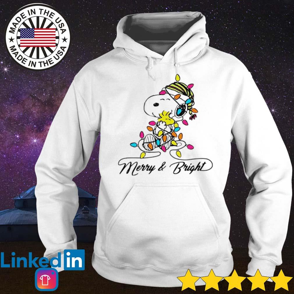 Snoopy hug Woodstock merry and bright Christmas sweater Hoodie