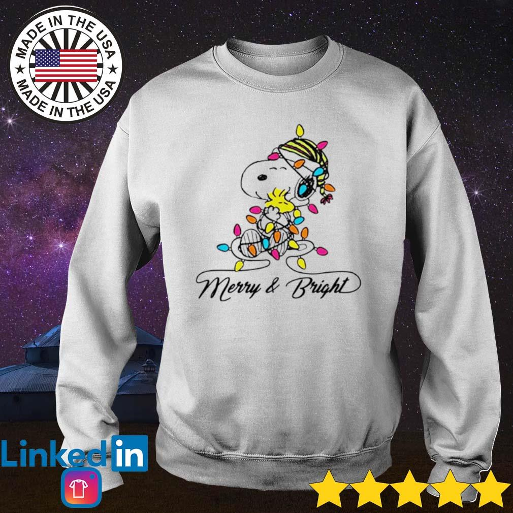Snoopy hug Woodstock merry and bright Christmas sweater