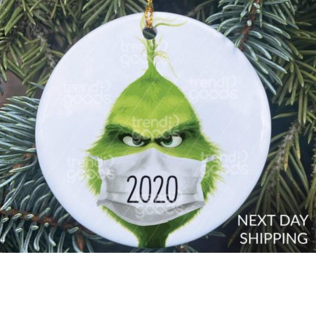 The Grinch face mask 2020 COVID-19 ornament
