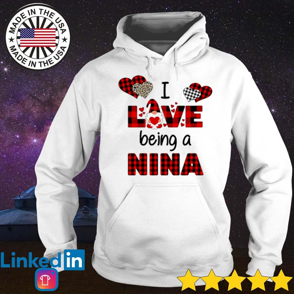Gnome valentines day I love being a Nina leopard caro s Hoodie