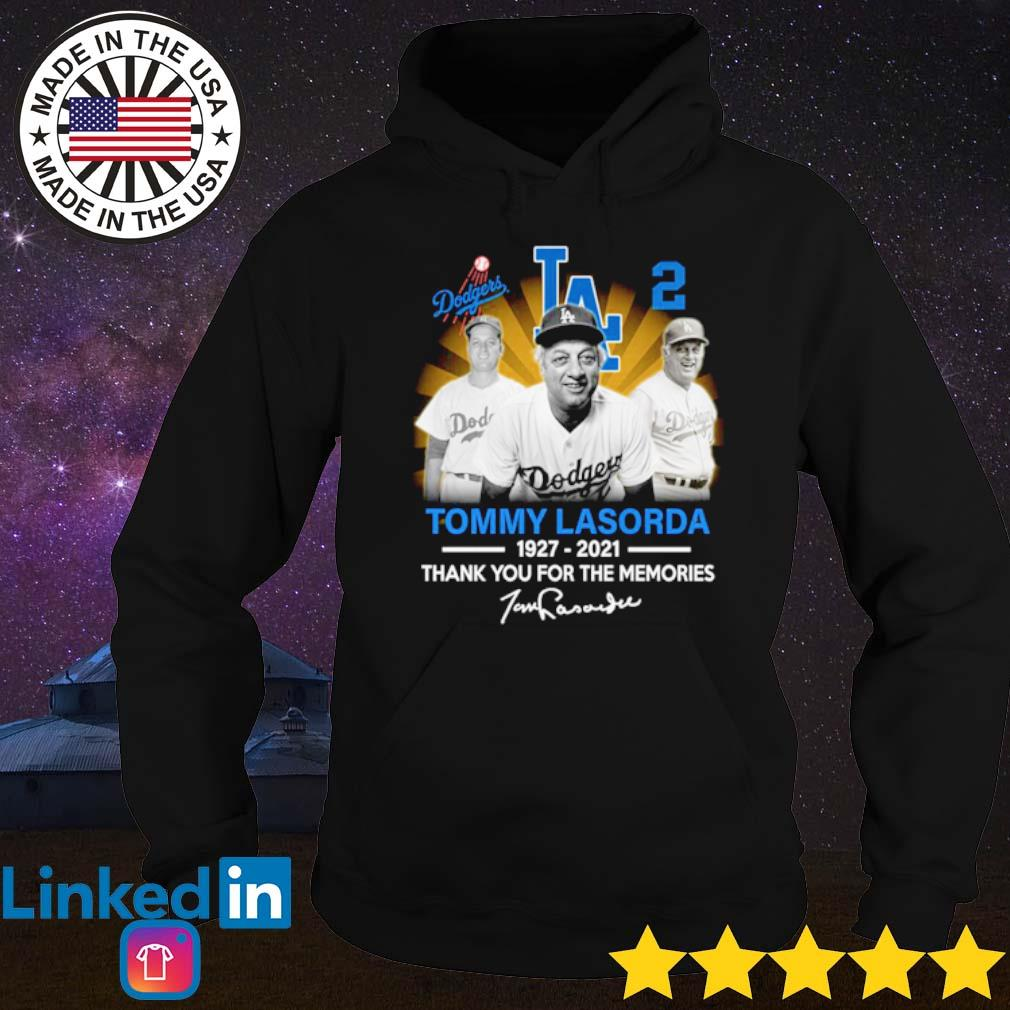 Los Angeles Dodgers Tommy Lasorda 1927-2021 thank you for the memories signature s Hoodie