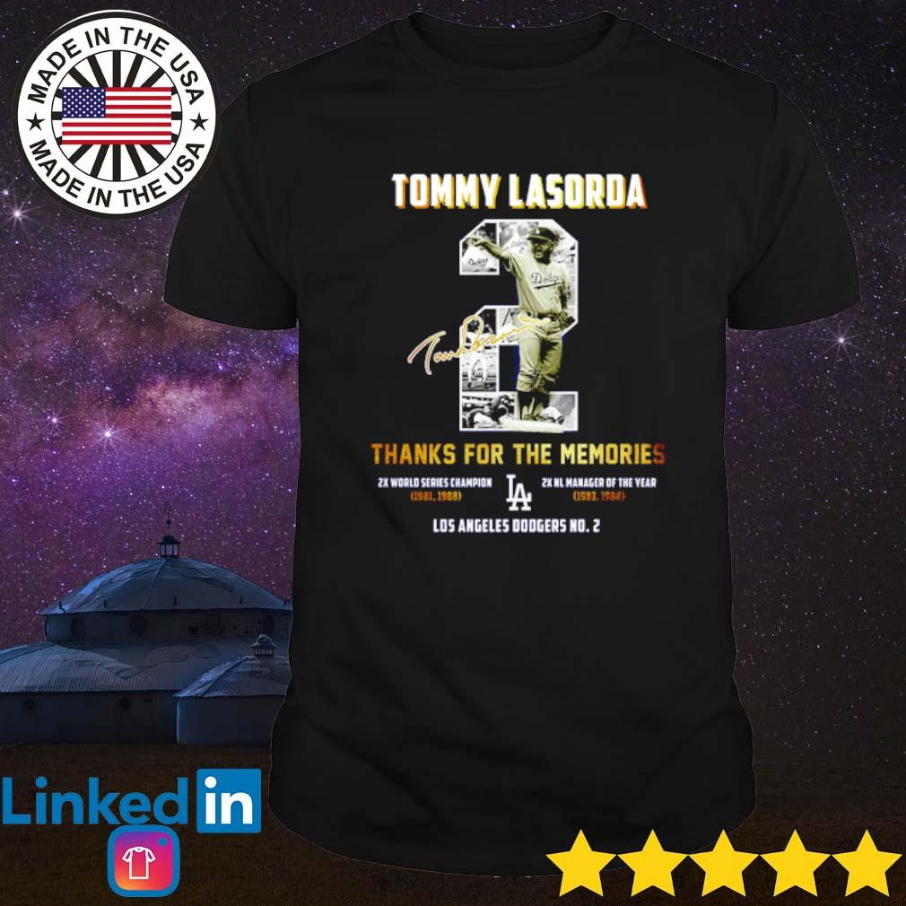 Tommy Lasorda thanks for the memories Los Angeles Dodgers No 2 signature shirt